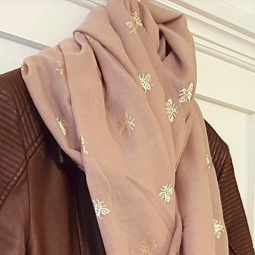Dusty Pink Rose Gold Foil Bee Print Scarf