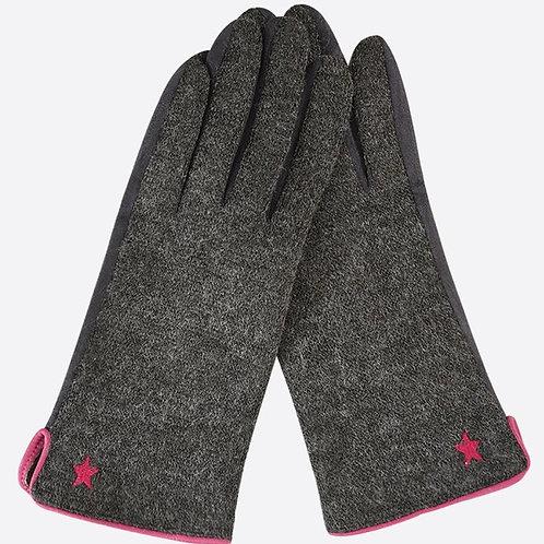 Delicate Star Gloves - Dark Grey/Fuchsia