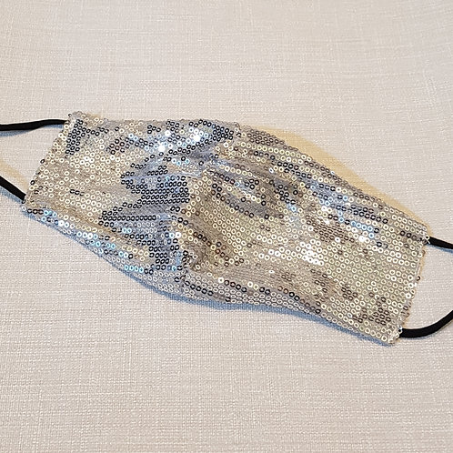 Silver Sequin Face Covering with Adjustable Straps