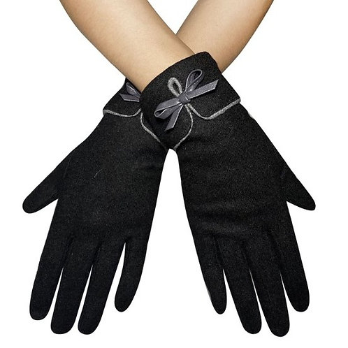 Black Touchscreen Gloves with Bow
