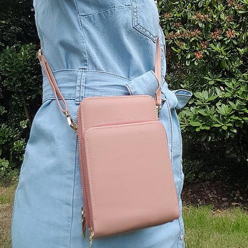 Small Triple Zip Bag/Mobile Phone Purse - Salmon Pink