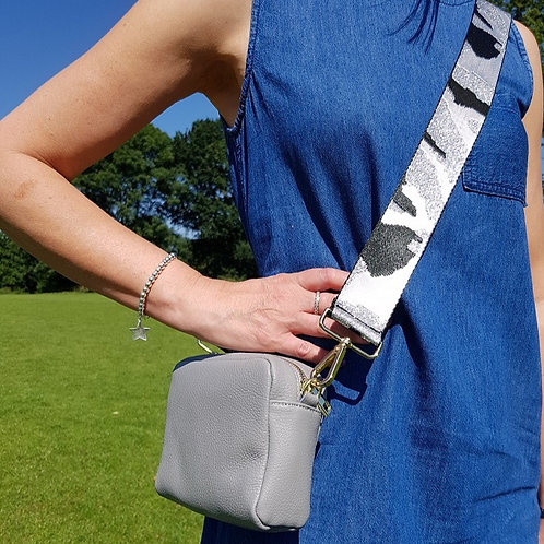 Camo Style Bag Strap in Silver and Black