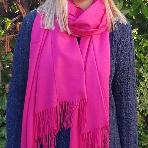 Super Soft Plain Pashmina Tassel Scarf - Fuschia Pink