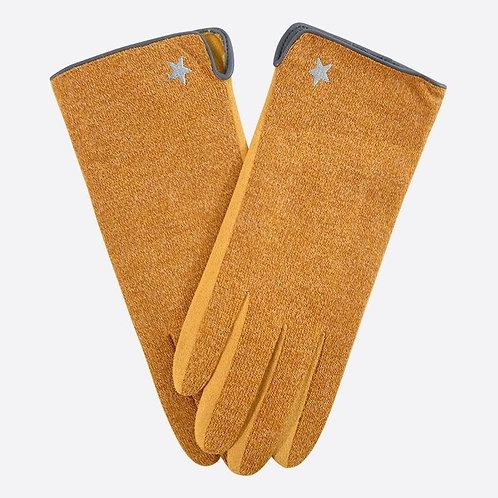 Delicate Star Gloves - Mustard/Grey