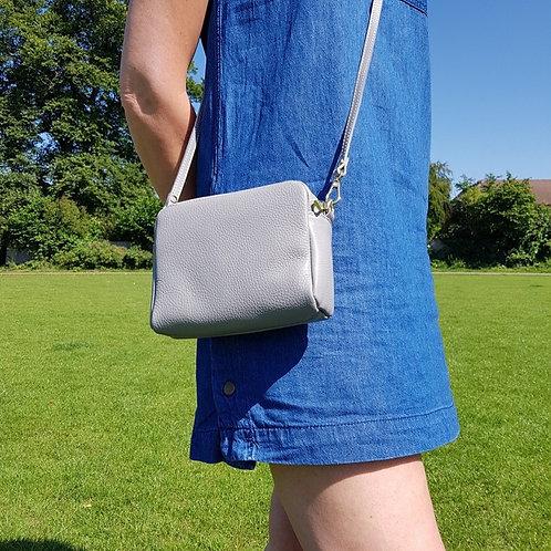 Isla Small Leather Crossbody/Wristlet Bag -Grey