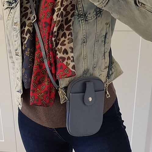 Ruby Leather Mobile Phone Purse - Dusty Blue