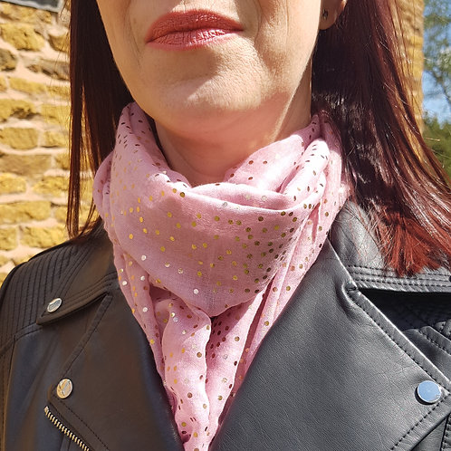 Rose Gold Tiny Dots Scarf - Pale Pink