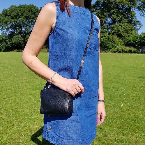 Isla Small Leather Crossbody/Wristlet Bag - Black