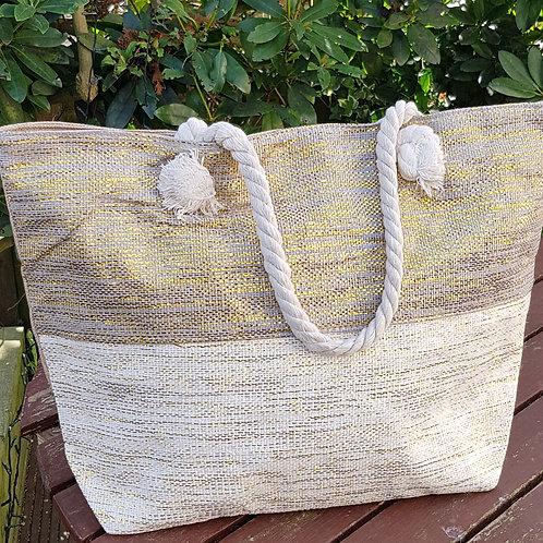 Cream/Grey Beach Bag with Metallic Gold Thread