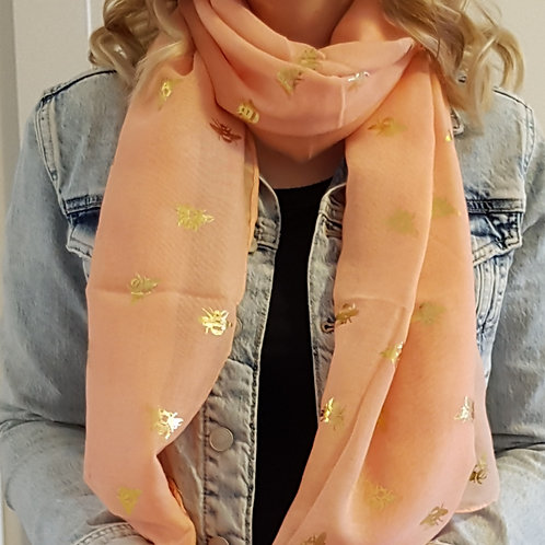 Coral Scarf with Rose Gold Foil Bees