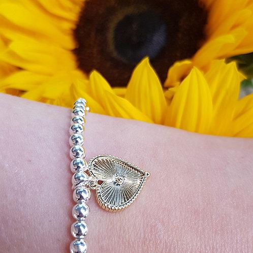 Sunny Heart Beaded Bracelet - Silver/Gold