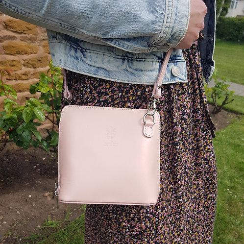 Caroline Small Leather Cross Body Bag - Baby Pink