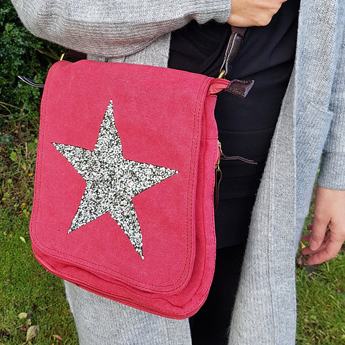 Claire Crystal Encrusted Star Bag - Red