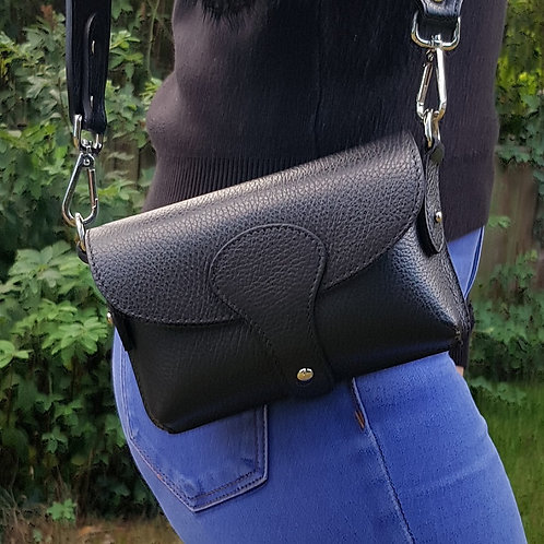 Millie Italian Leather Chest Bag - Black