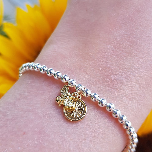 Flower and Bee Beaded Bracelet - Silver/Gold