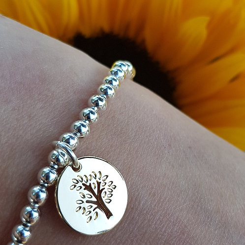 Tree of Life Beaded Bracelet - Silver/Gold