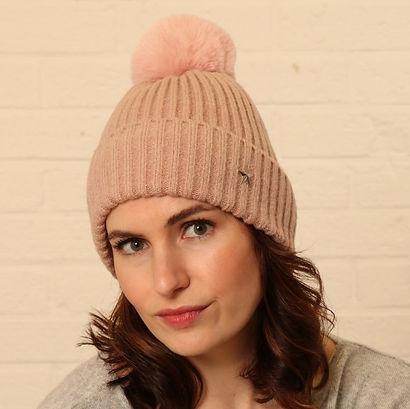 dusty pink star emblem winter wool bobble hat.jpg