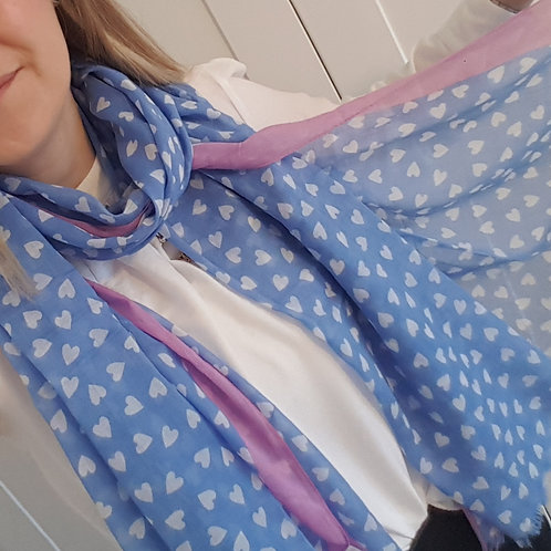 Sky Blue Cotton Scarf with White Hearts