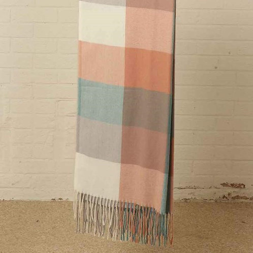 Square Check Print Blanket Scarf - Teal/Brown (COMING SOON)