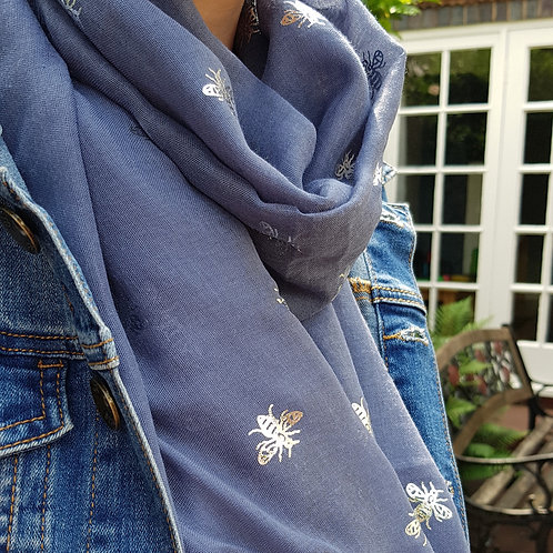 Silver Foil Bee Scarf - Denim Blue