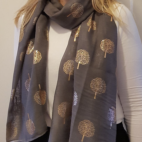 Rose Gold Foil Trees Scarf - Charcoal Grey
