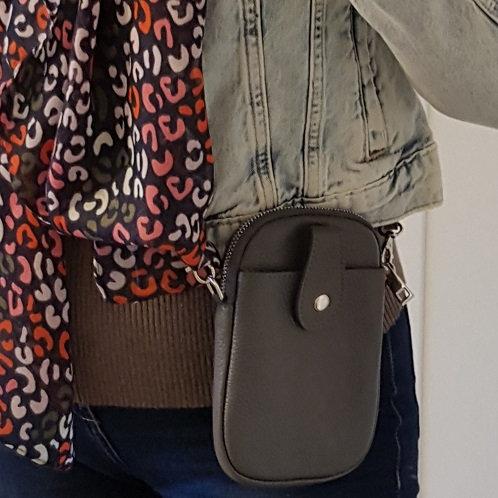 Ruby Leather Mobile Phone Purse - Dark Grey