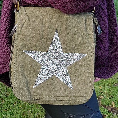 Claire Crystal Encrusted Star Bag - Green