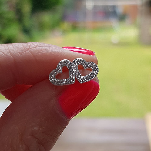 Cubic Zirconia Sterling Silver Heart Earrings