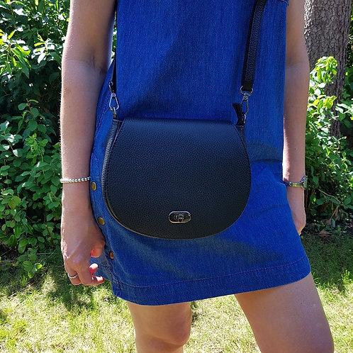 Olivia Italian Leather Saddle Bag - Black