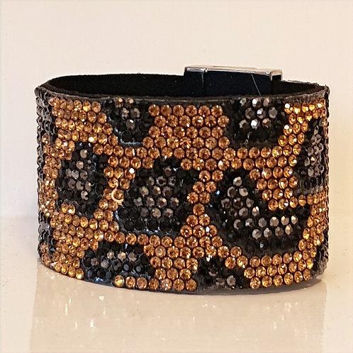 Animal Pattern Crystal Studded Cuff Bracelet