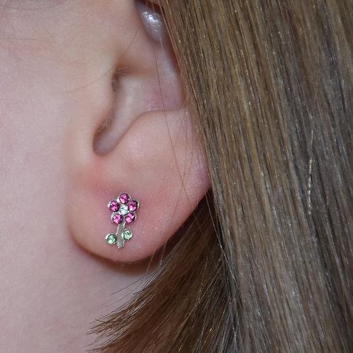 Swarovski Crystal Pink/Green Flower Earrings