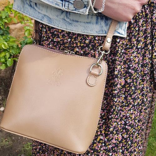 Caroline Small Leather Cross Body Bag - Taupe
