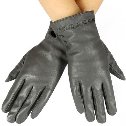 Grey Leather Stitch Detail Gloves