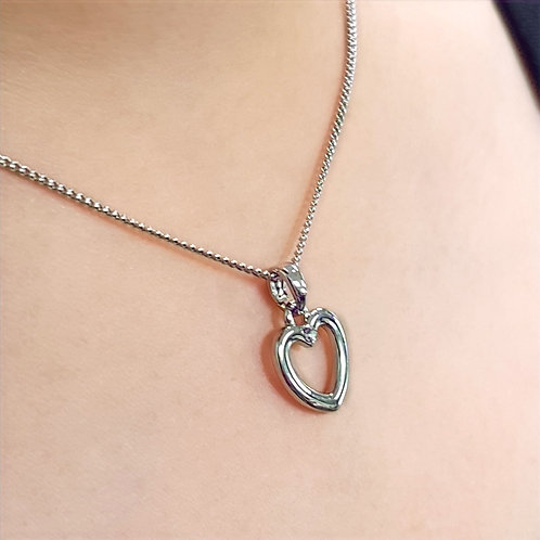 Open heart Silver Plated Necklace with Crystal