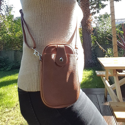 Ruby Leather Mobile Phone Purse - Tan/Brown