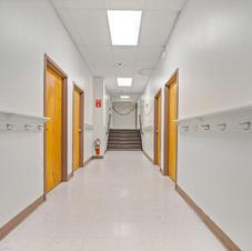 Hallway in lower level + hooks