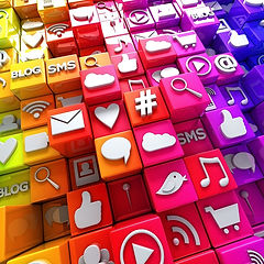 Colourful cubes with social media icons, stacked on top of each other, symbolising social media marketing in Sydney at Local 2U Australia.