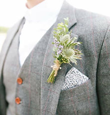 rustic thistle buttonhole for bedfordshire groom