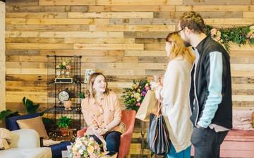 wedding flower consultation area at bedfordshire florist studio