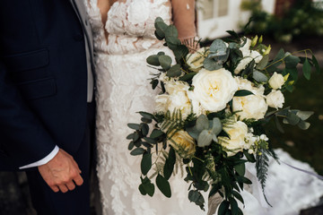 White and green oversized bridal bouquet
