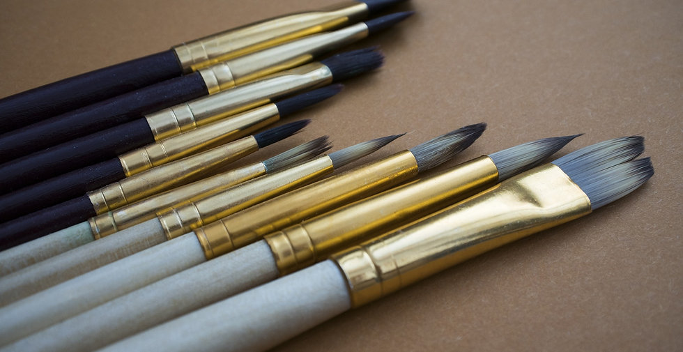 A selection of high quality paintbrushes
