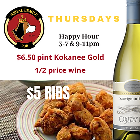 1/2 PRICE WINE KOKANEE GOLD THURSDAYSPECIALS CALGARY