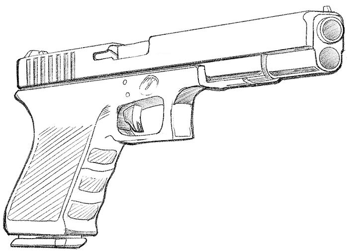 How To Draw a Glock 18 Hand Gun - Final