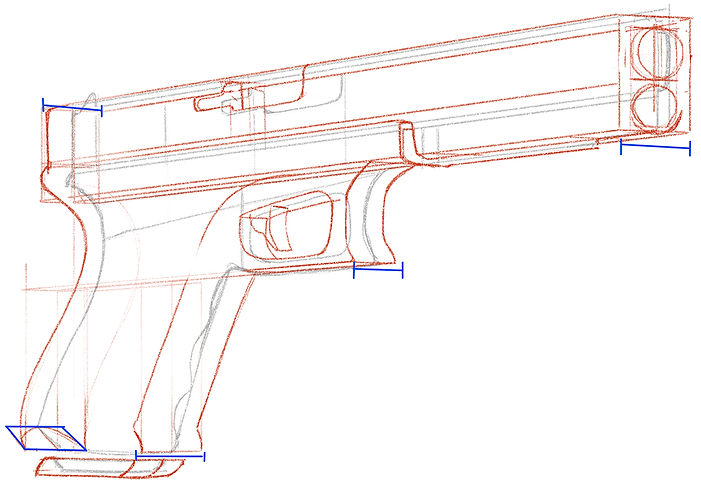How To Draw a Glock 18 Hand Gun - Step 0