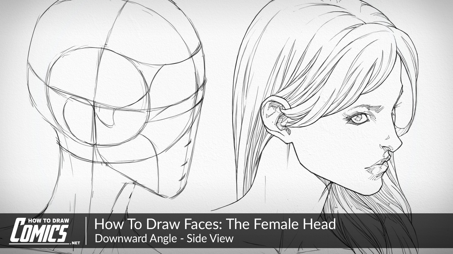 How to draw girls female heads downward angle side view