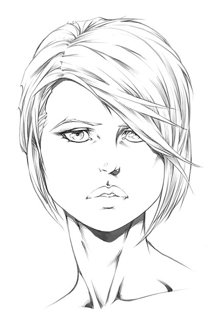 Drawing Lines With Three Js : How to draw heads female portraits