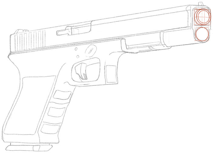 How To Draw a Glock 18 Hand Gun - Step 1