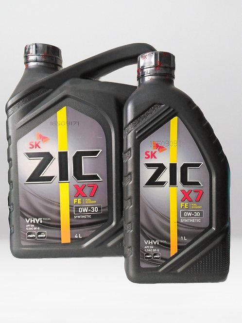 Моторное масло ZIC X7 FE SAE 0W30 4л SN,GF-5 GM dexos1