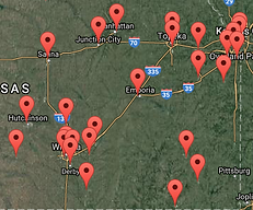 A map with the various locations of LifeSafer of Kansas in Hutchinson, KS marked with pins