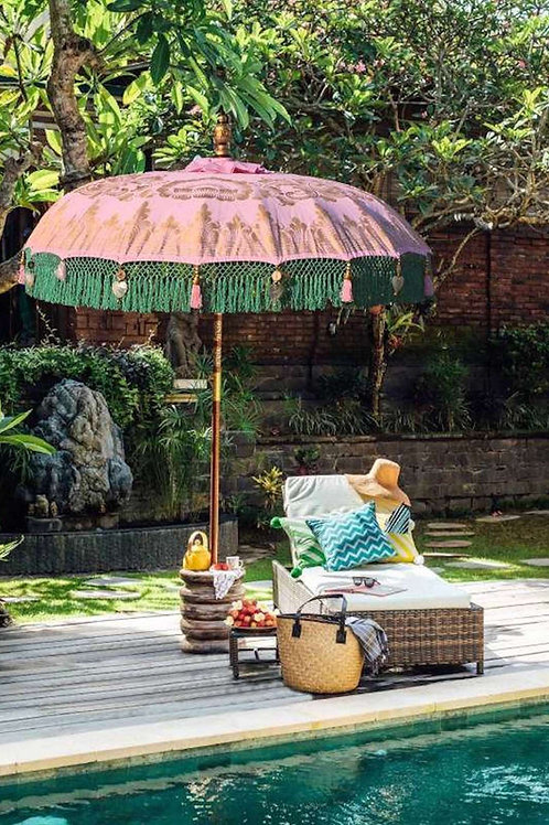 Pink and green fringed garden parasol